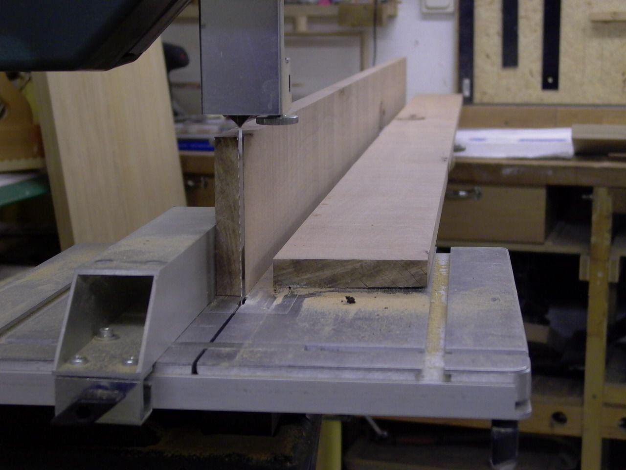 Auftrennen von 120mm Buche auf der Bandsäge